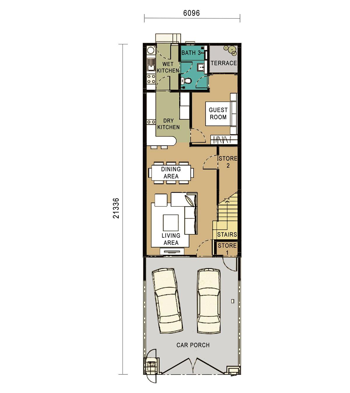 2-Storey Link Home - Intermediate Unit -Ground Floor